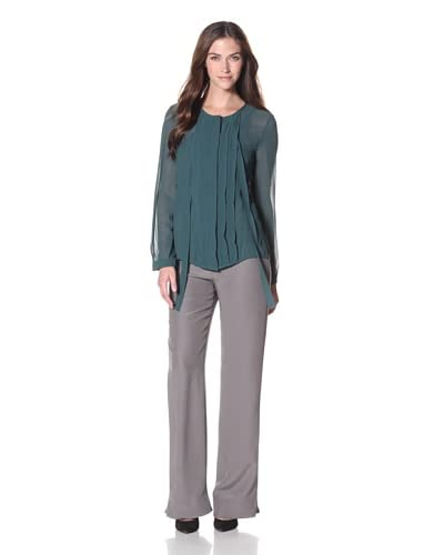 Armani Collezioni Women's Georgette Pleat Front Top  - Solid Dark Green