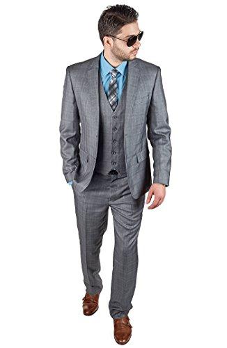 Slim-Fit-3-Piece-Vested-Plaid-Grey-Suit-2-Button-Notch-Lapel-By-Azar-Man