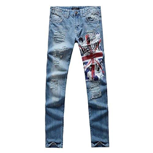Jeansian Moda Pantaloni Casual Uomo Jeans Denim Sottile Uomini J017 Blue W30