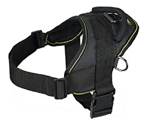 Dean and Tyler DT Dog Harness, Black With Yellow Trim, Medium - Fits Girth Size: 28-Inch to 34-Inch