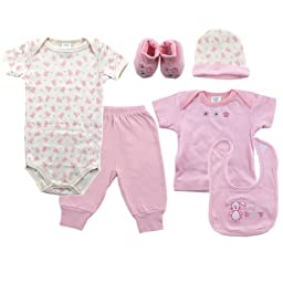 Luvable Friends 6-Piece Layette Gift Set, 0-6 Months, Pink