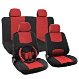 OxGord 17pc Set Flat Cloth Mesh Red & Black Broken Stripe Seat Covers Set - Universal Fit + Steering Wheel Cover