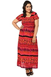 LastInch Red Multi Print Smoked Beach Gown_LISE513-L