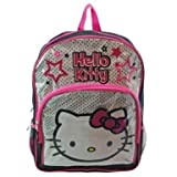 "Hello Kitty 16"" Large School Backpack Bag Black And Silver"