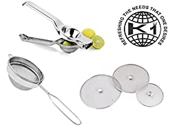 King International Stainless Steel Smart Kitchen Tool Combo Set of 3 pcs (Squeezer + Tea Strainer + Net Cover)