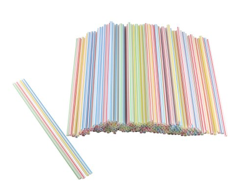 Plastic Disposable Cocktail Sip Stirrers Assorted Colors (Pack Of 300)