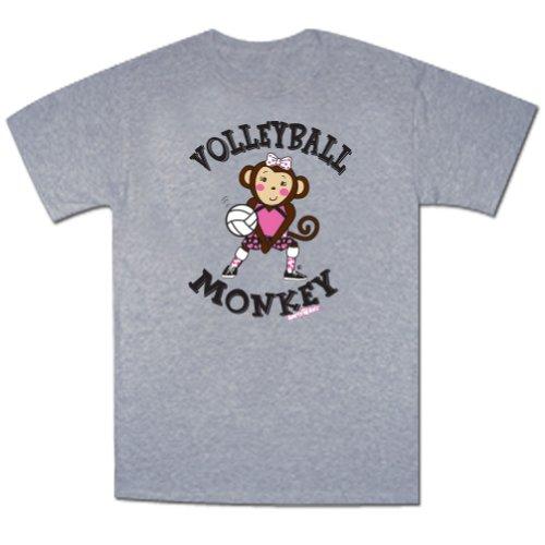 Volleyball Maisy Monkey Short Sleeve Tee Heather Gray Youth Medium front-1055823