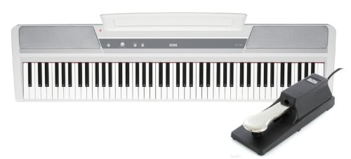 Korg Sp170S 88-Key White Digital Slab Piano With Built-In Speakers And Free On Stage Ksp100 Keyboard Sustain Pedal With Attached 6 Foot Cord