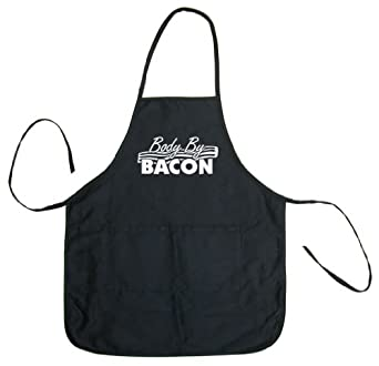 Tasty Threads Body By Bacon Adult BBQ Cooking & Grilling Apron (Black, One Size)