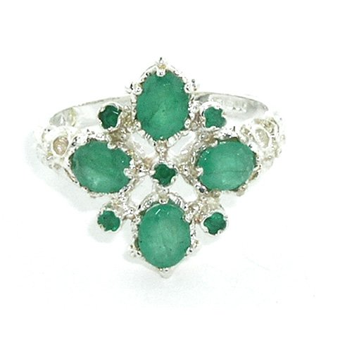Sterling Silver Ladies 9 Stone Emerald Ring