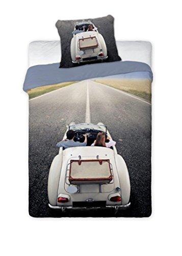 Mini-Maxi &  - Biancheria da letto composta da copripiumone da 160 x 200 cm, federa 70 x 80 cm, per camera ragazzi, 100% cotone, motivo: stampa auto cabriolet