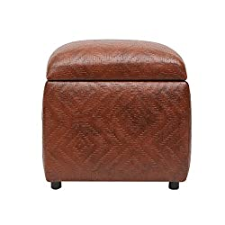 SIWA Style Vicar Faux Leatherette cane mat finish Storage Ottoman Light Brown