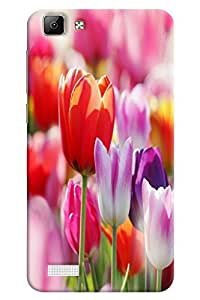 Omnam Lily Flower Printed Designer Back Cover Case For Vivo V1