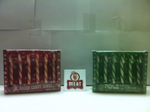 MEAT MANIAC Exotic Candy Canes Combo Gift Pack with Sticker- Bacon Candy Canes & Pickle Candy Canes (Pickle Flavored Candy Canes compare prices)