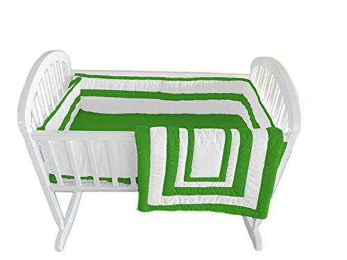 Baby Doll Modern Hotel Style Cradle Bedding Set, Green Apple