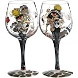 Handpainted Bottoms Up Wine Glass