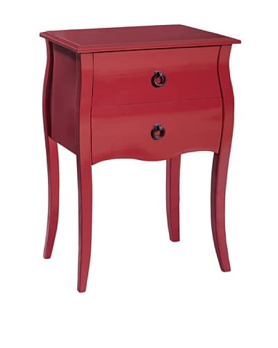 Gallerie Décor Lido Double Drawer Accent Cabinet, Red