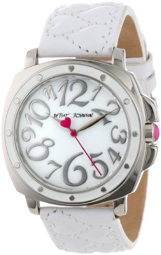 Betsey Johnson Women's BJ00044-01 Analog White Quilted Heart Strap Watch