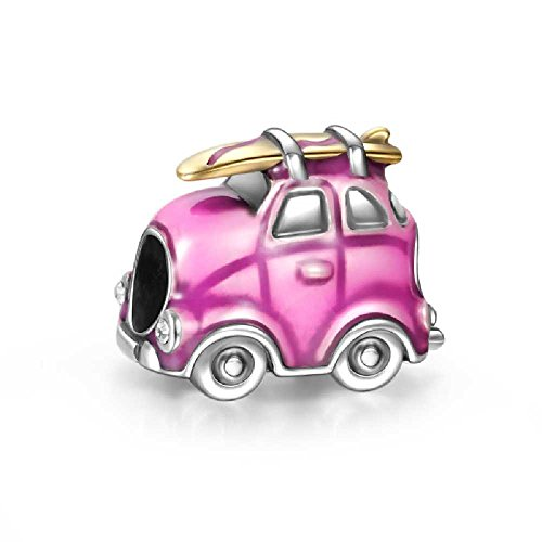 Soufeel Pink Travel Car Charm 925 Sterling Silver Fit European Charms Bracelets
