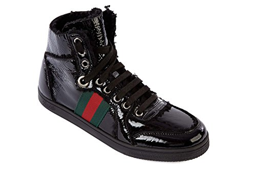 Gucci women's shoes high top leather trainers sneakers merinos black US size 9 270082 BTJ10 1072