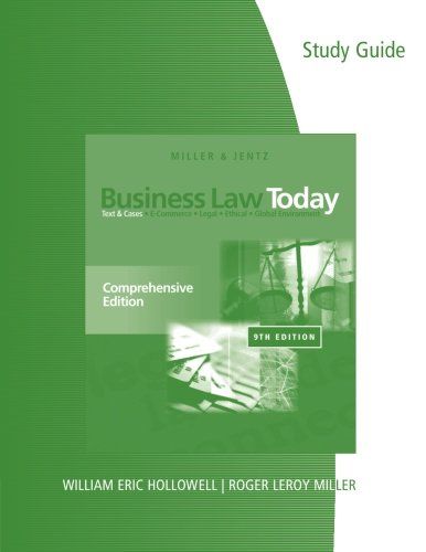 Study Guide for Miller/Jentz's Business Law Today:...