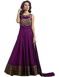 Purva Art Women's Net Dress (PA_CPG_1489_Purple_Free Size)