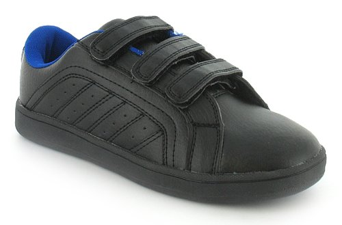 Boys Black Velcro Tennis Style Trainers - Black/Blue - UK 13-6