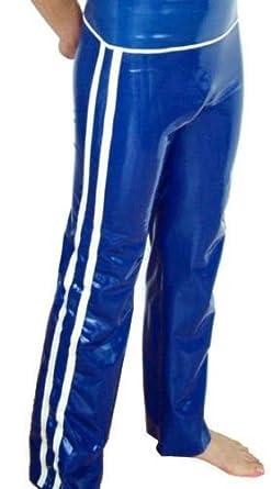 """Latexandlovers Latex Rubber Trousers Pants Unisex Sissy Tv Blue Jogging Trouser Size: XS-Waist 27-28""""/68,5-73Cm Main Colour: Black Trim Colour: Green"""