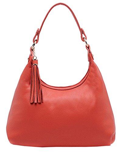 SAIERLONG Nuovo Donna Anguria rosso Pelle Bovina Genuina sacchetto di frizioni Borse Borse a tracolla trasversale del corpo Wristlets