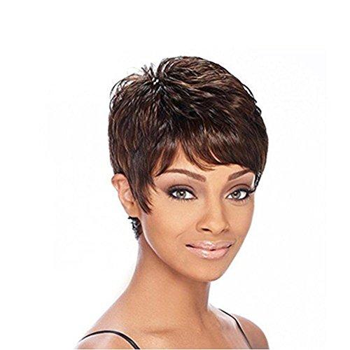 Meylee Parrucche Il nero nuovo stile misto colore parrucca marrone capelli corti per ragazze nere