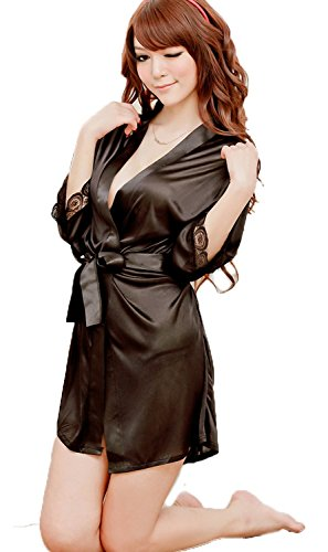 xiaoming Bathrobe G-string Underwear Gown Sleepwear Kimono Nightdress Set