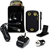 BLACKBERRY BOLD 9900 9 PC LUXURY GIFT ACCESSORY PACK - BLACK/YELLOW EXPLORER CASE / COVER / SHELL / SHIELD + SCREEN PROTECTOR + POUCH + HEADSET + USB MINI CAR CHARGER + USB MAINS CHARGER + MICRO USB CABLE + STYLUS + DESK STAND PART OF THE QUBITS ACCESSORIES RANGEby Qubits