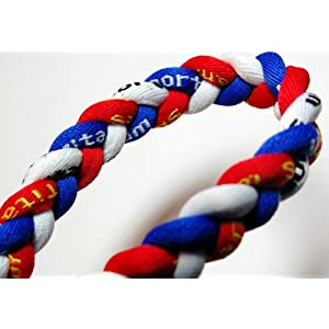 "20"" Blue/Red/White Titanium Sport Tornado Baseball/Softball Necklace"