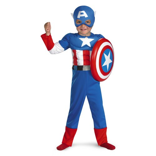 Captain America Muscle Costume - Toddler Medium