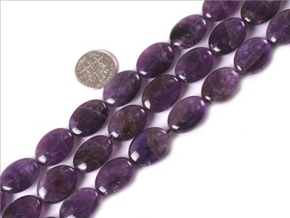13x18mm oval gemstone amethyst beads strand 15