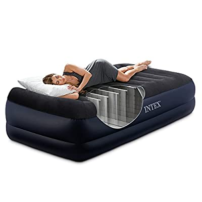 """Intex Dura-Beam Series Pillow Rest Raised Airbed with Fiber-Tech Construction and Built-In Pump, Twin, Bed Height 16.5"""""""