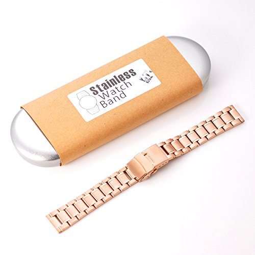KR-NET 18mm Stainless Steel Metal Strap Watch Band for Withings Activite Pop Steel (Nova/Rose Gold)