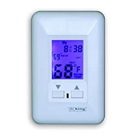 King ESP230-R Electronic Line-Voltage Programmable Thermostat, White
