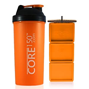 Core150® Orange 35oz - Best Protein Shaker Bottle with Easy Stack removable storage compartments