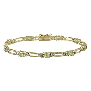 18k Gold Plated Sterling Silver Diamond Accent and Peridot Double Bar Link Bracelet, 7.25""