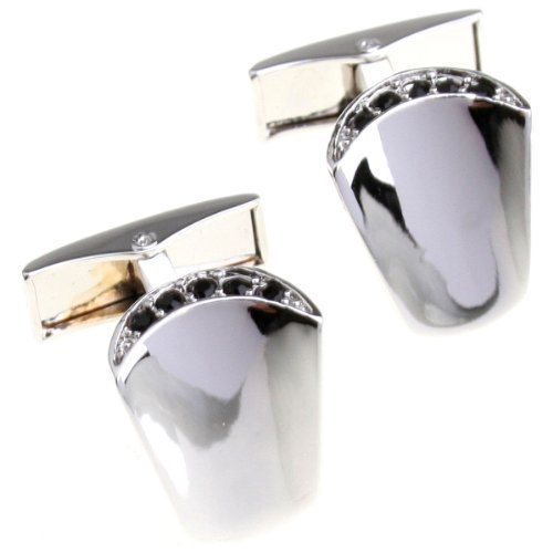 Santimon - Luxurious Gold Silver Brass High Quality Electroplate White Steel Square Men Cuff Cufflinks 156228(Silver)