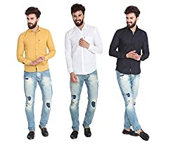 Pelican's Pack Of 3 Yellow, White & Black Slim Fit Casual 100% Cotton Shirt
