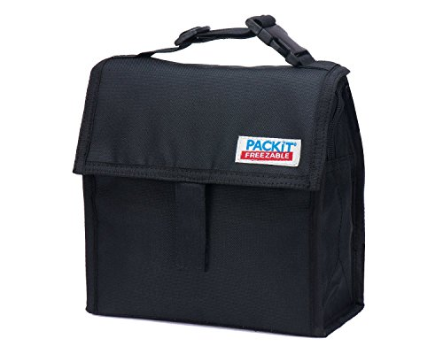 PackIt Freezable Snack Bag with Zip Closure, Black - 2 Count