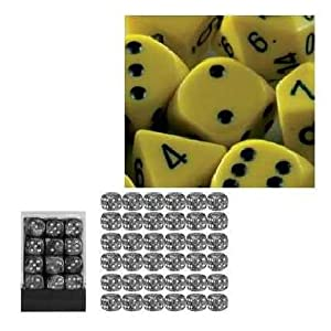 Chessex Opaque 12mm d6 Yellow w/Black Dice Block 36 Dice