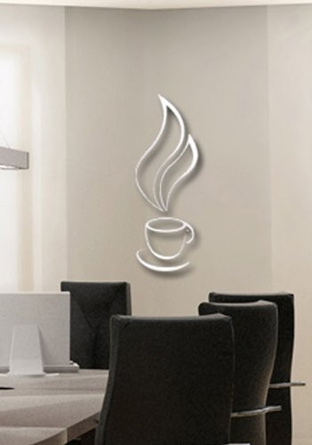Toprate(TM) Silver Hot Coffee Cup Smoke Modern Stylish Simple Style Fashion Art Design Removable DIY Acrylic 3D Mirror Wall Decal Wall Sticker for Kitchen Dining Room Home Decoration