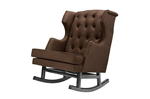 Nurseryworks Empire Rocker In Coffee Weave Fabric with Dark Leg