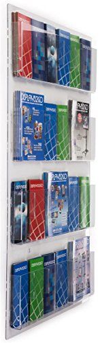 """Displays2go Hanging Literature Rack with Adjustable Pockets, 29x48 """", Clear Acrylic (RP12CLR)"""