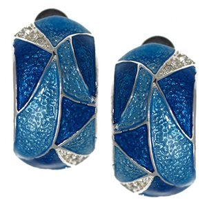 Edmonda Silver Turquoise Crystal Clip On Earrings