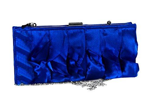 Borsetta donna MARINA GALANTI blu pochette elegante in raso con frange N411