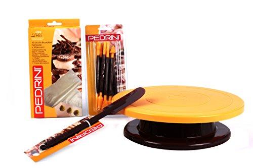 Pedrini W1437 Set Cake Design Confezione Utensili e Accessori per Creare Dolci, Diametro 28 cm